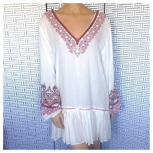 Free People Embroidered Puff Sleeve V-Neck Tunic